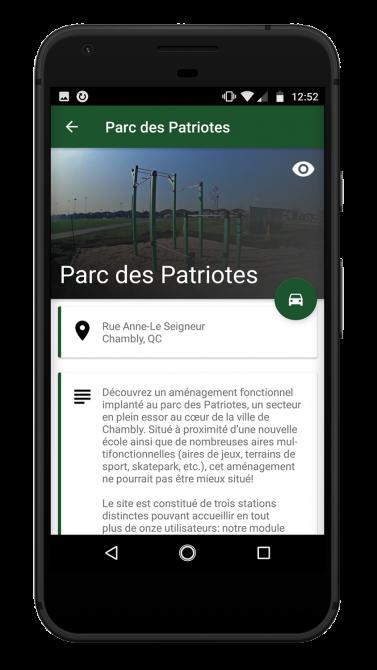 Présentation Parc Entrainement Application mobile Consultation